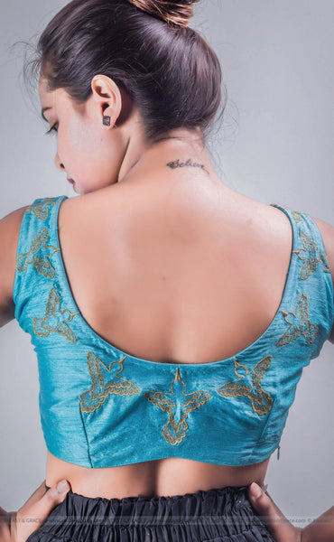 Gold Aviary Sea Blue Raw-Silk Hand Embroidered Blouse