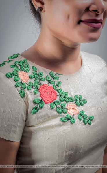 Creamery Raw-Silk Ribbon Embroidered Blouse