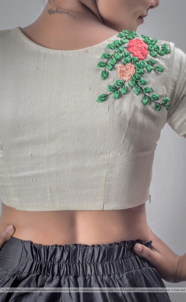 Creamery Raw-Silk Hand Ribbon Embroidered Blouse