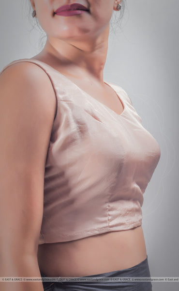 Elora Rose Gold Pure Silk Plain Blouse