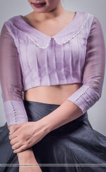 Lavender Breeze Pure Silk-Organza Designer Blouse