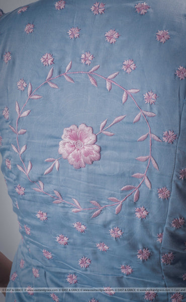 Mimi Light Blue Cotton-Satin Blouse with Floral Hand Embroidery