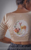 Pastel Orange Raw-Silk Blouse with Ribbon Embroidered & Printed Deer Motif