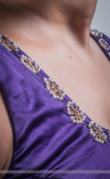 Purple Royale Satin Pearls Hand Embroidered Blouse