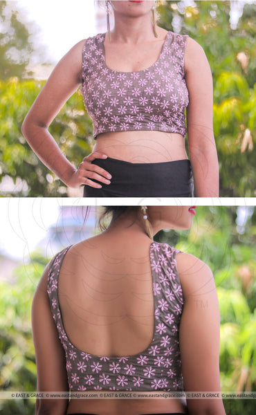 Charcoal Grey Frangipani Floral Raw Silk Blouse