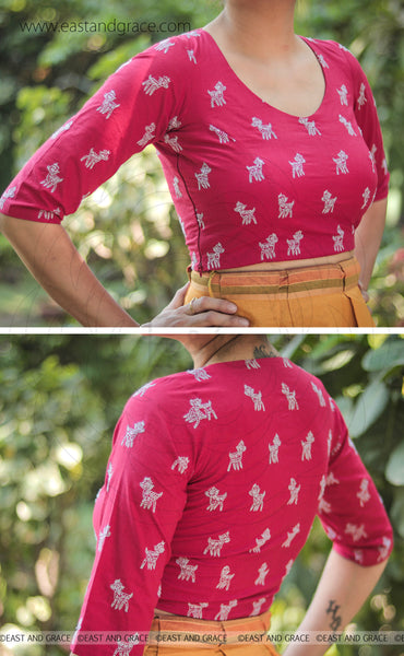 Fuchsia Pink Deer Embroidered Raw-Silk Blouse