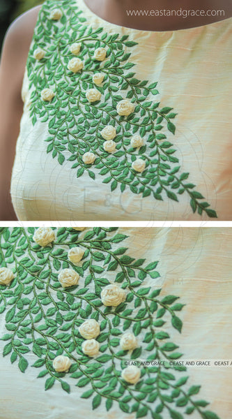 Cream Raw Silk Blouse With Green Foliage Embroidery and Ribbonwork Flowers