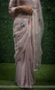 Sarah Pure Silk-Organza & Satin-Silk Ribbon Hand Embroidered Beige Pink Saree