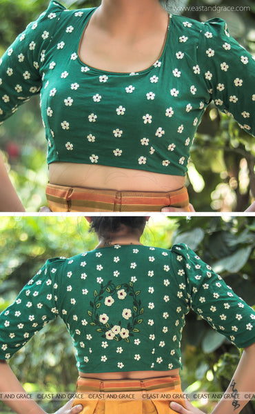 Sweet Pear Blended Raw Silk Celadon Green Hand Embroidered Blouse