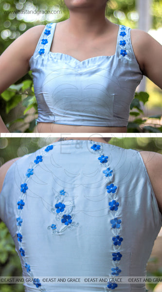 Forget-Me-Not Light Blue Lycra-Satin Embroidered Blouse