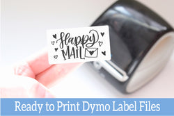 Happy Mail - Ready-to-Print Dymo compatible Label Designs - Rectangular Design