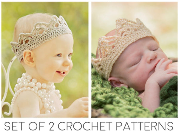 Crown Crochet Patterns - Girl & Boy Crowns - Set of 2 Patterns