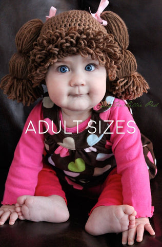 Cabbage Patch Kid Crochet Hat - Teen/Adult Sizes