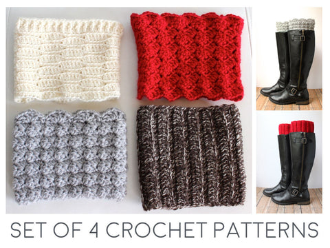 Boot Cuff Crochet Pattern - Set of 4 Patterns - by The Lillie Pad