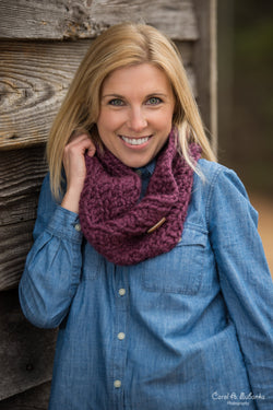 Chunky Cowl Scarf - Fig Purple