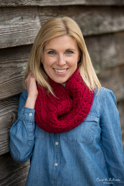 Chunky Cowl Scarf - Cranberry Red