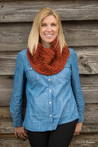 Chunky Cowl Scarf - Red Spice
