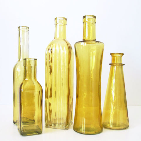 Assorted Amber Bud Vases
