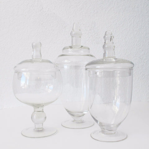 Footed Apothecary Jars - Set of 3