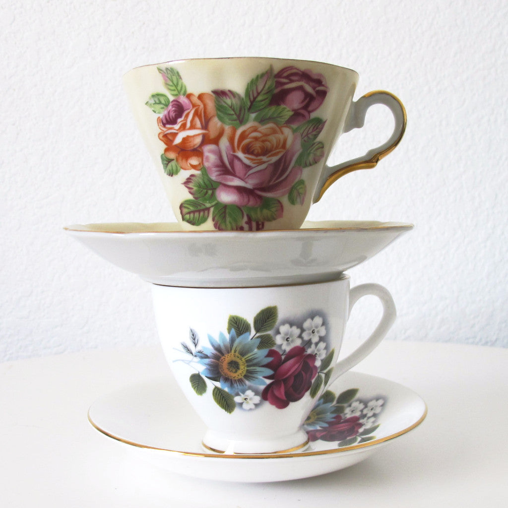 Mismatched China Teacups and Saucers