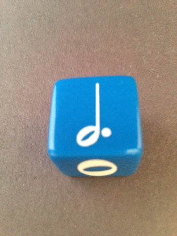 19 mm Dice--whole, half, dotted half and quarter note rhythms