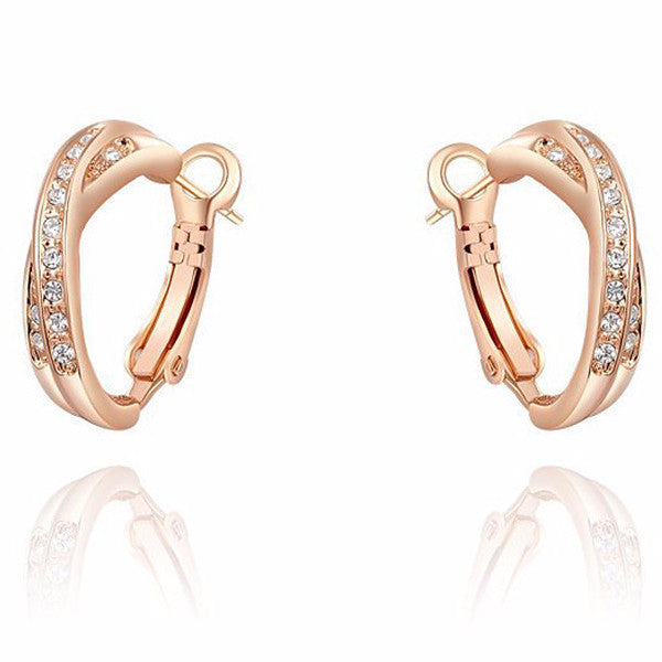 558359d0a Austria Crystal Fashion Rose Gold Small Hoop Earrings – Jagobo