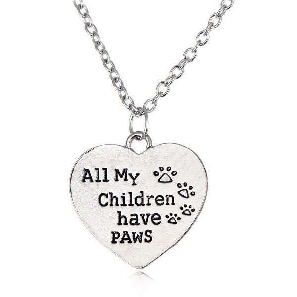 All my children have paws paw print pendant necklace jagobo all my children have paws paw print pendant necklace aloadofball Gallery