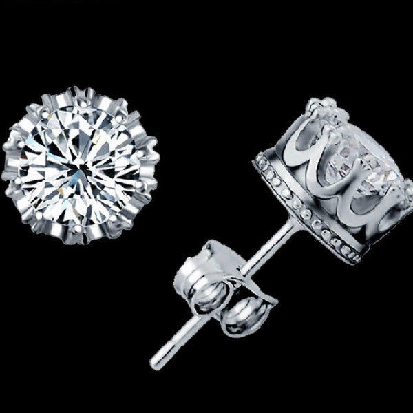 for crown crystal jewelry lady diamond plated earrings fashion gold cz classic colors products stud