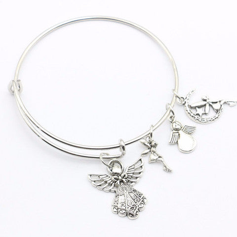95d2162c78428 Angel, Fairy, Love & Made With Love Heart Hand Charm Bangle Bracelet