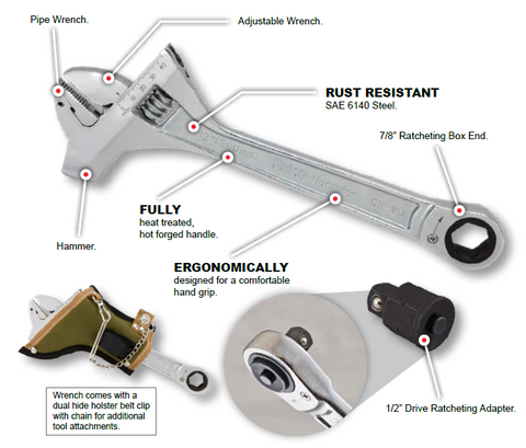 Adjustable Mining Wrench With Hammer