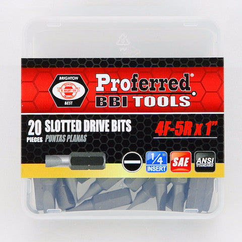 Slotted Drive Bits- 20 pack