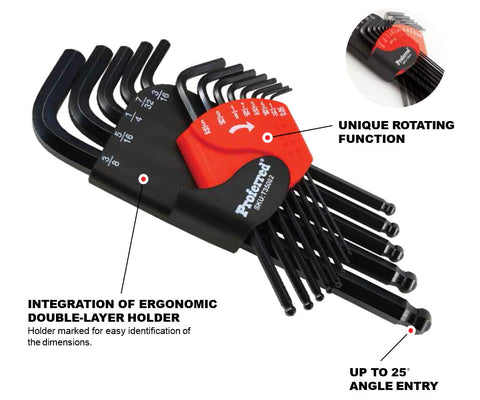 Long Arm Ball Point Hex Key Set - 12 pc.