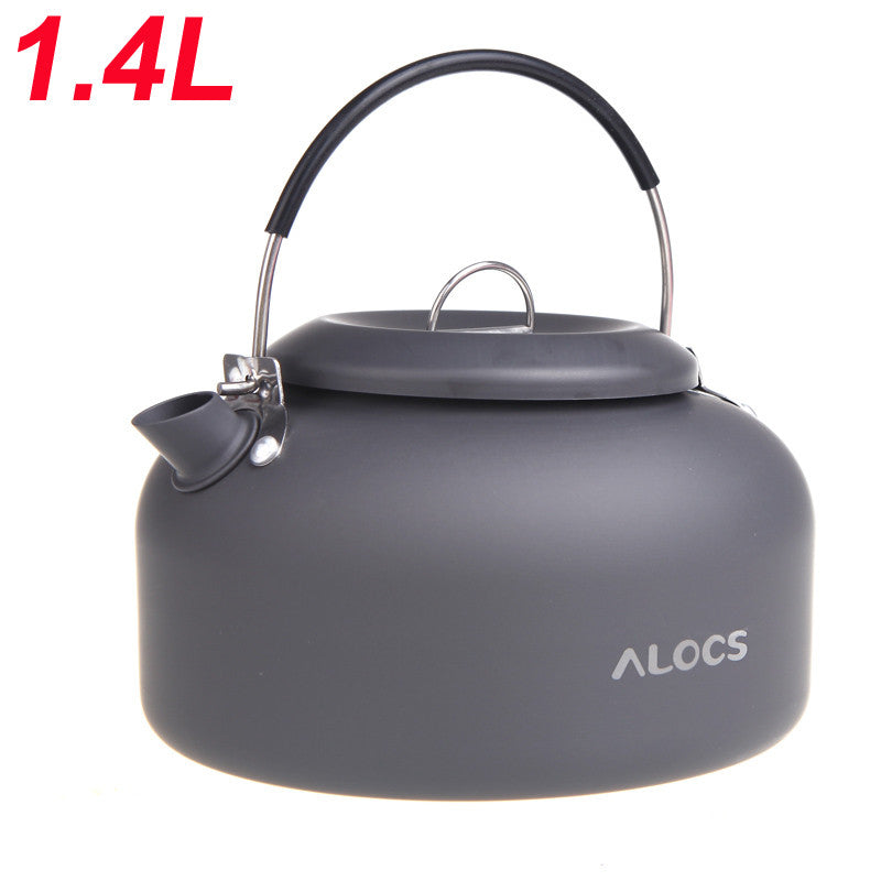 Camping Tea & Coffee Kettle -1.4L Alocs Aluminum w/ Mesh Case.