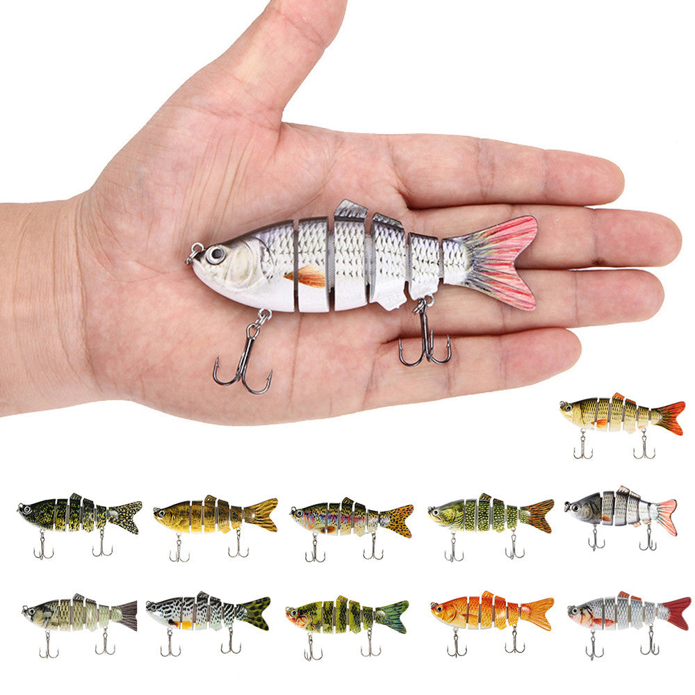 3D Eyes Lifelike Fishing Lure With Treble Hooks 6 Jointed Sections