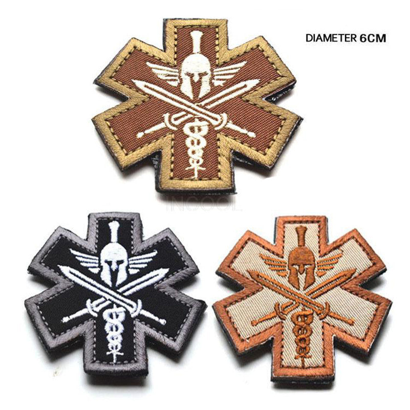3D Spartan Medic Tactical Embroidered Patch Military EMT Morale Badge