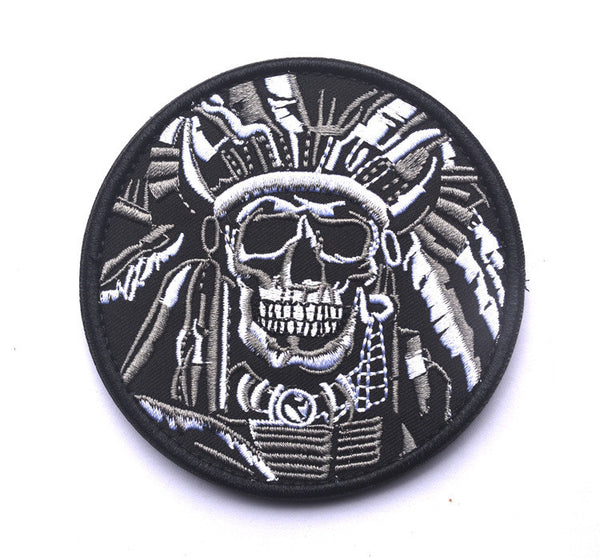 DEATH SKULL WAR CHIEF INDIAN USA ARMY MORALE MILITARY TACTICAL SWAT PATCH