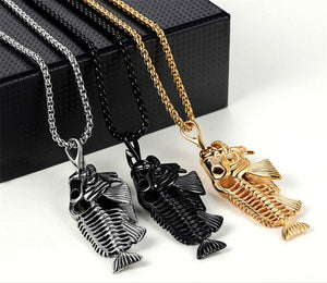 'The Fishbone' Titanium Necklace With Pendant- 3 Colors - LIMITED SUPPLY