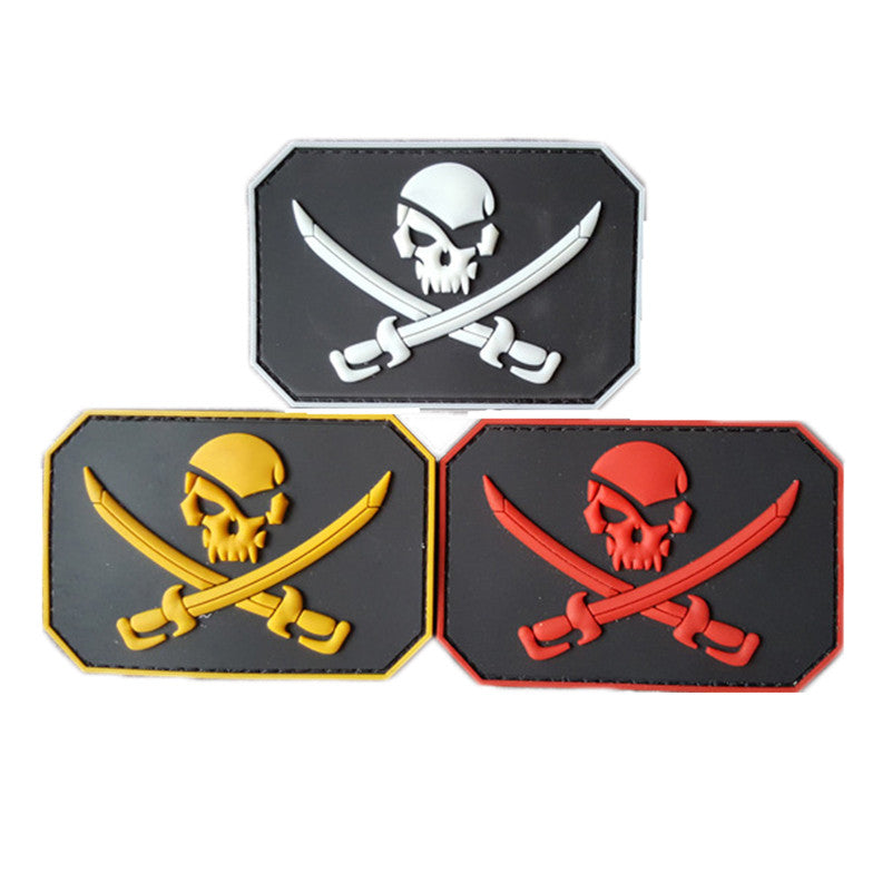 Pirate Skull & Swords Glow Army Morale 3d Pvc Badge Swat Patch Rubber Military Tactical Patch Military Armband Tactical Patches