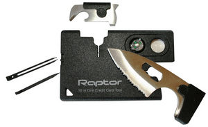 'RAPTOR' 10-in-One Credit Card MultiTool- Survival Tool EDC.