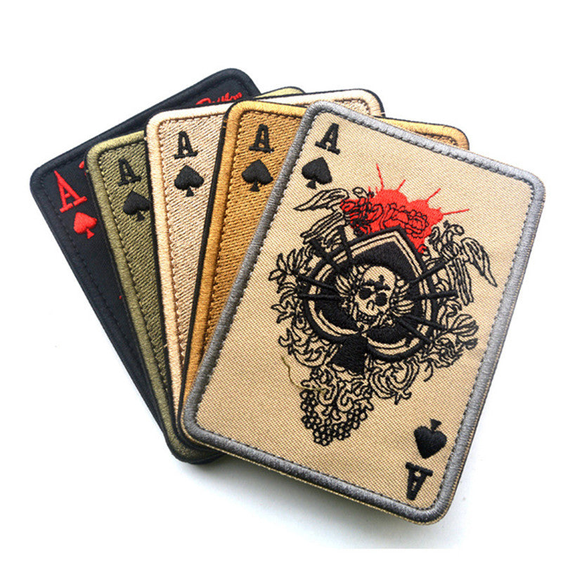 Tad Death Card Rectangular Patch Embroidery Poker Tactical Patches