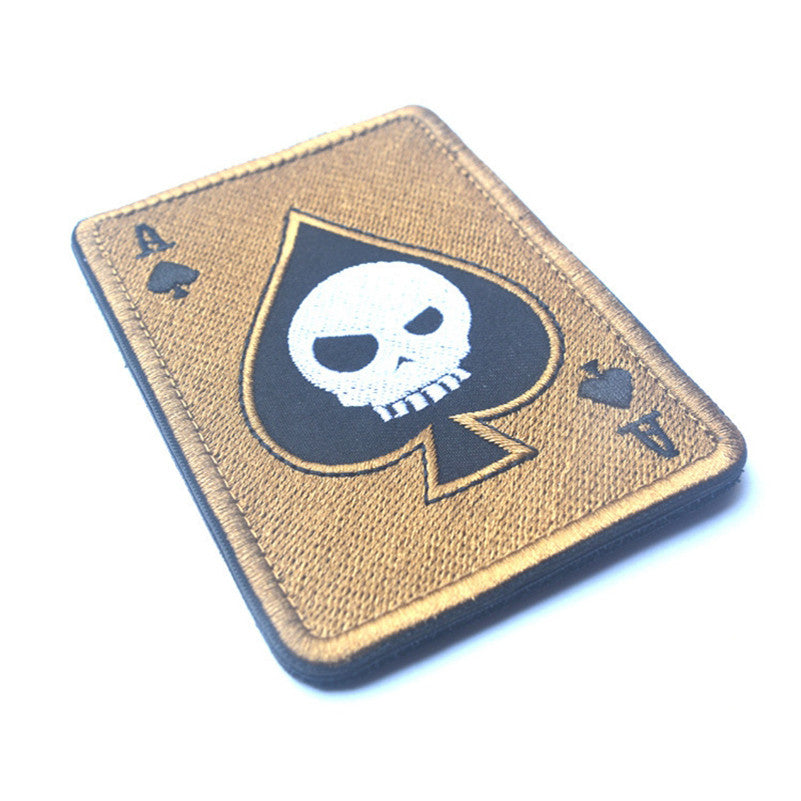Tad Death Card Rectangular Badge Embroidery Poker Tactical Badges Hook And Loop Military Morale Armband Army Combat Badge Special Summer Sale Badges