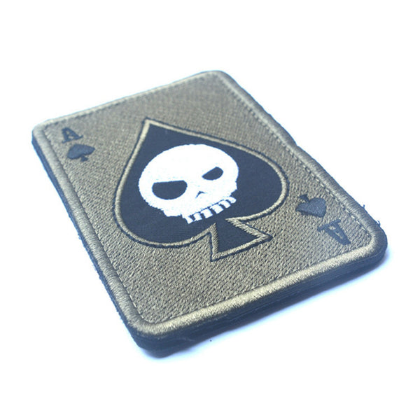 TAD Death Card Rectangular Patch Embroidery Poker Tactical Patches Hook And Loop Military Morale Armband Army Combat Badge