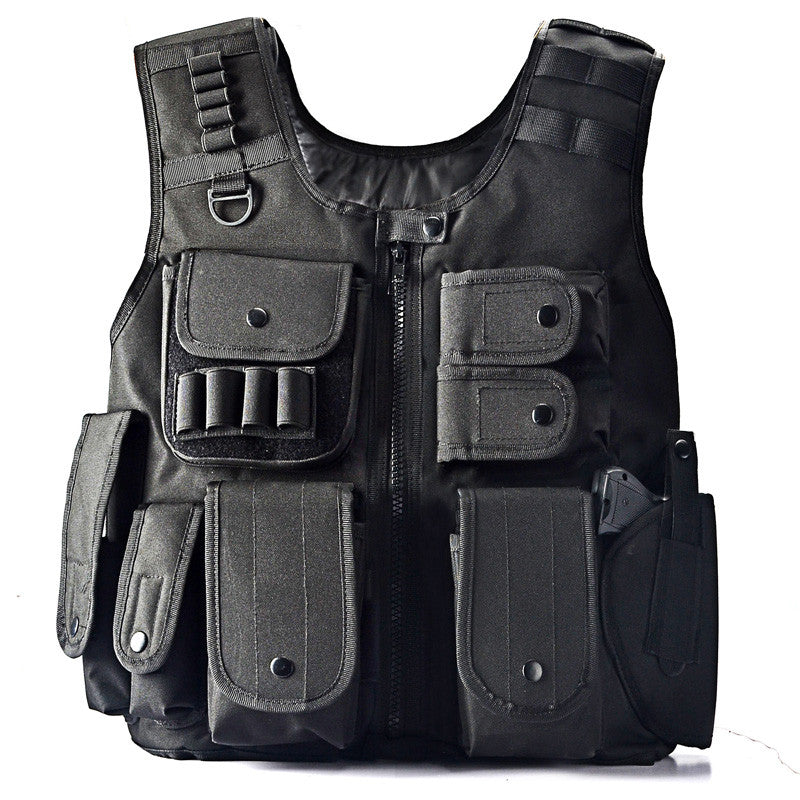 Military Tactical Polyester Vest - Black
