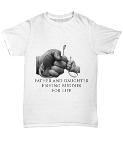 Father and Daughter Fishing Buddies - White