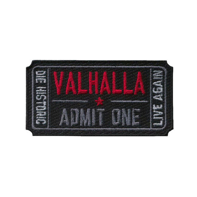 Ticket to Valhalla Morale Military Tactical Vikings Mad Max Patch Army Tactical Badge Embroidered Badges Fabric Armband Stickers