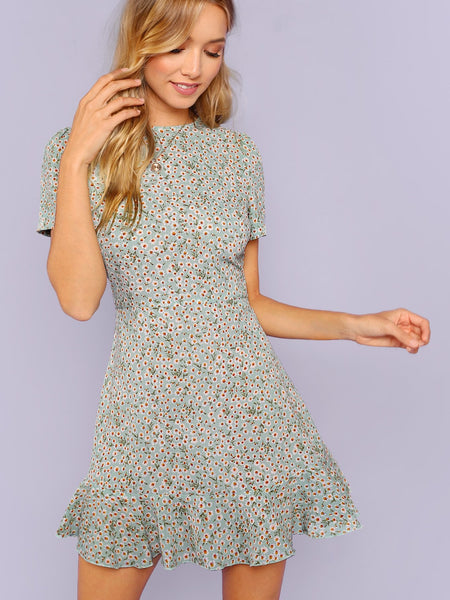 Floral Ruffle Hem Short Sleeve Dress