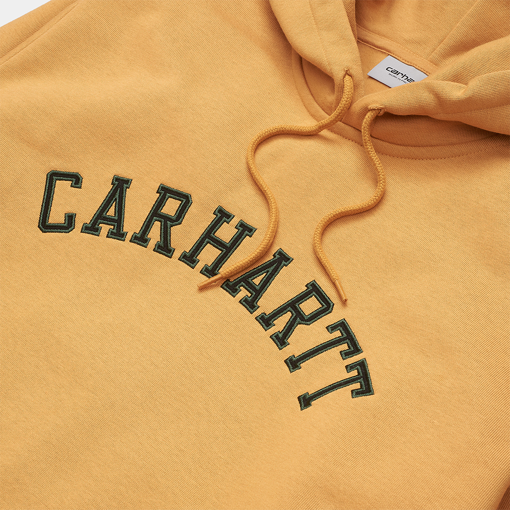 Carhartt Hooded University Patch Sweatshirt (winter sun/bottle green)