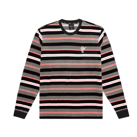 HUF Unveil Stripe Velour LS (black)