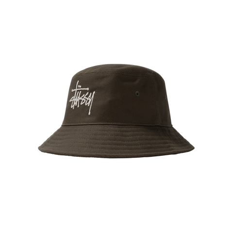 Stüssy Big Logo Twill Bucket Hat (olive)