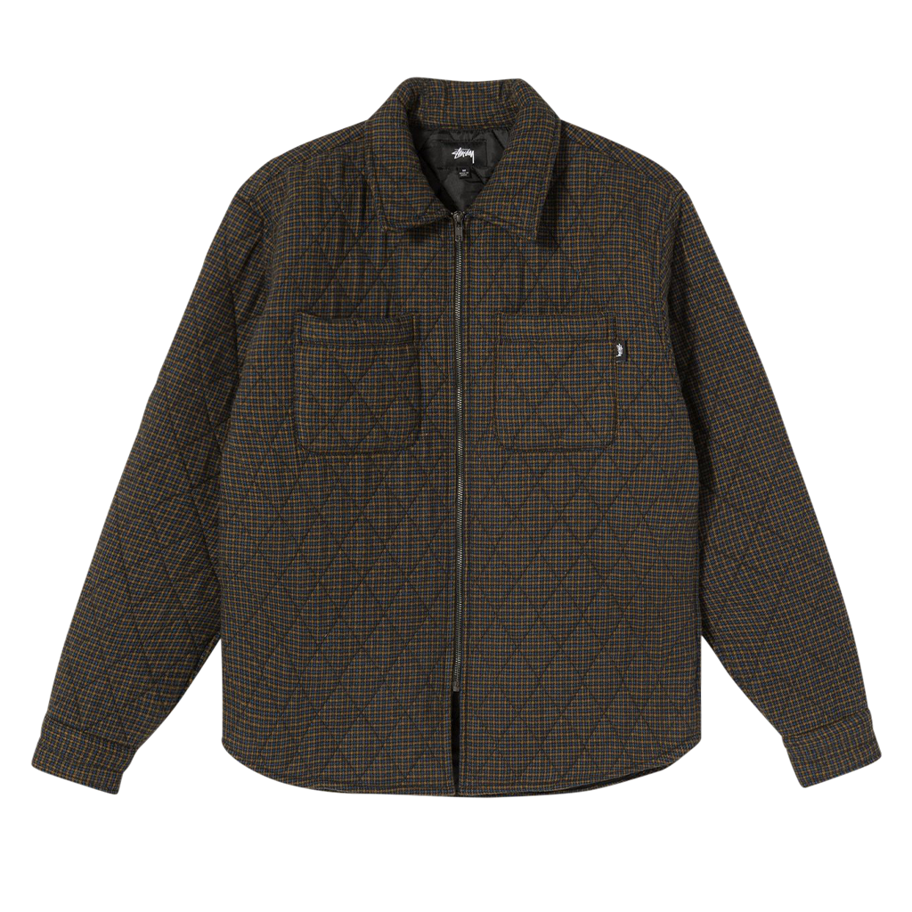 Stussy Mini Check Quilted Zip Shirt (black)
